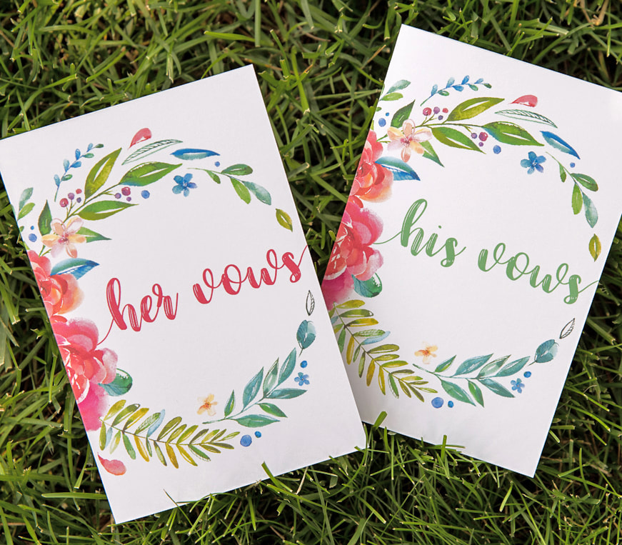 colorful wedding vow books