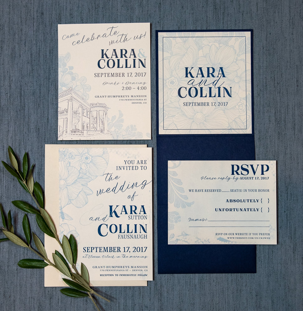 blue and white vintage floral wedding invitation