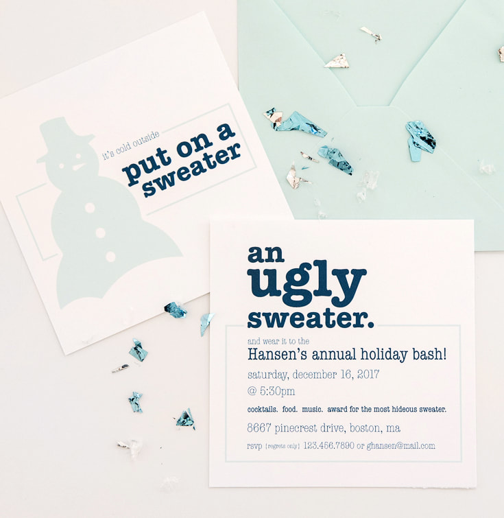 pastel blue and white ugly sweater party invitation