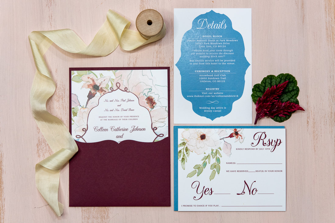 burgandy and blue wedding invitation suite