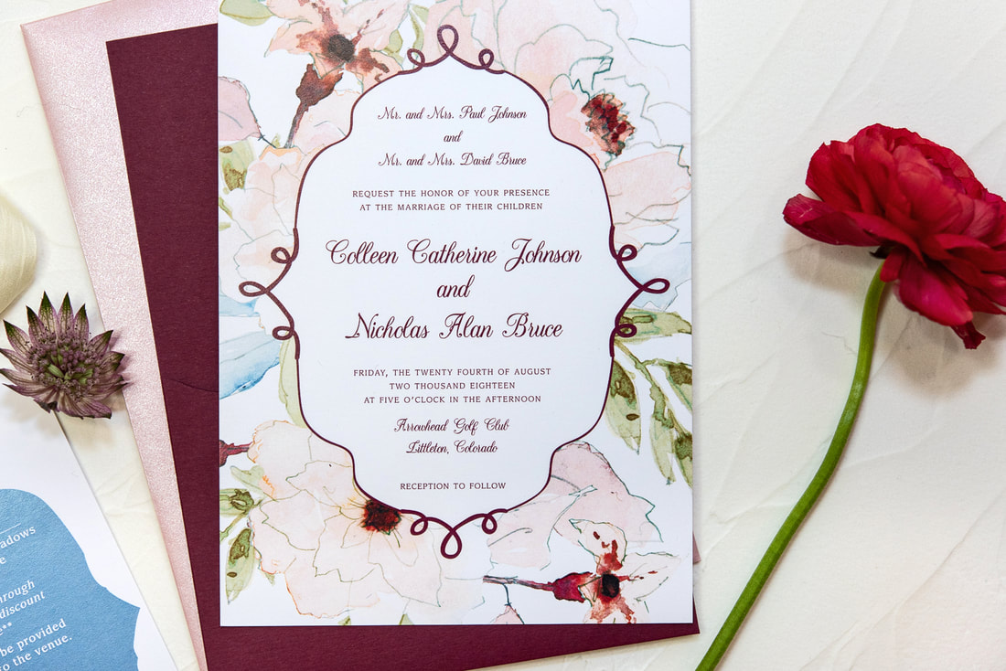 burgundy and floral wedding invitation