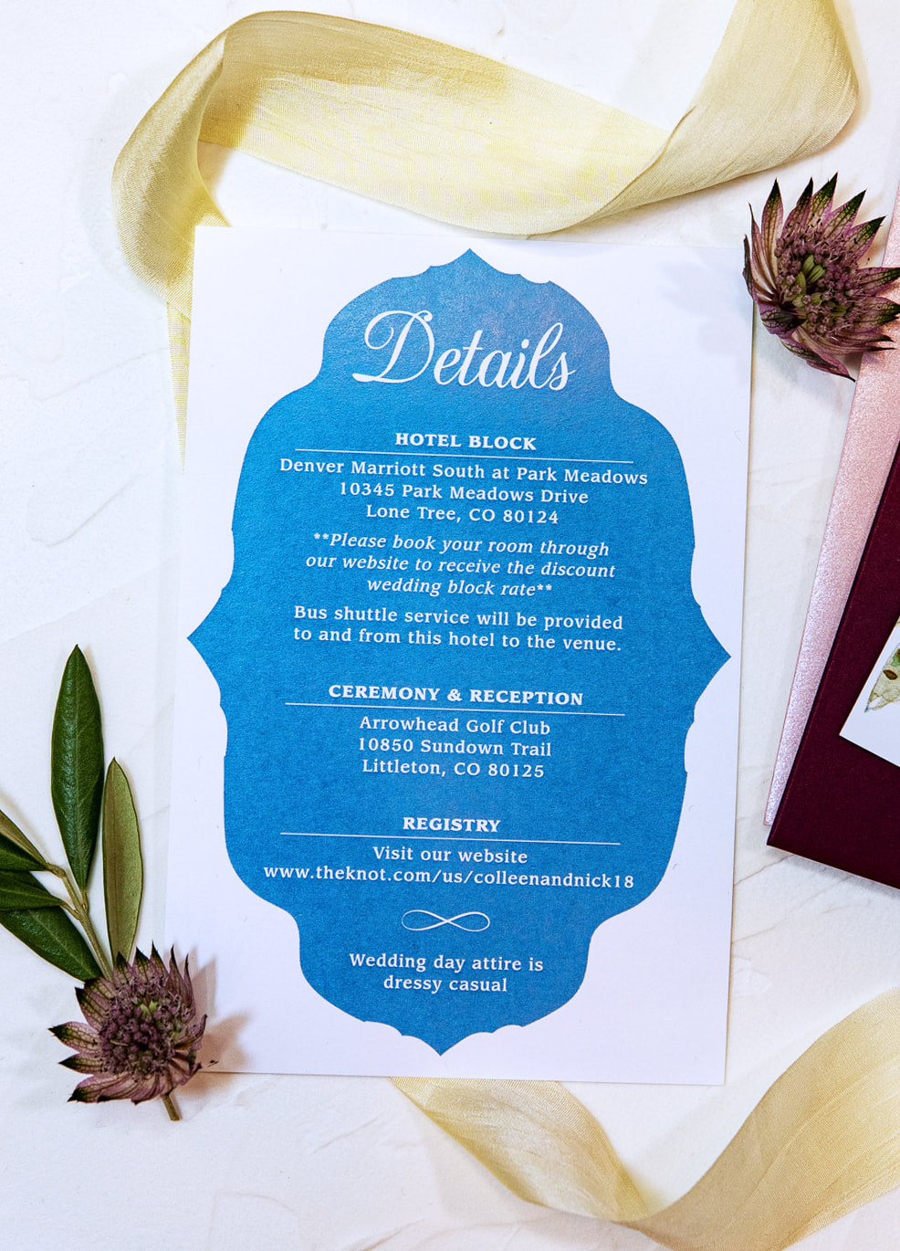 blue wedding details card