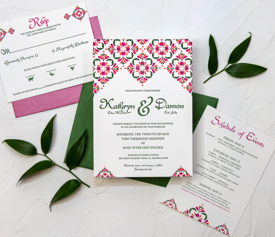 pink and green Spanish theme wedding invitation