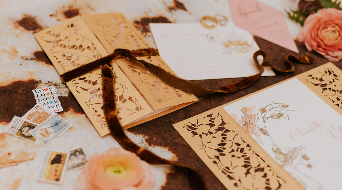 Gold Laser Cut Custom Wedding invitations