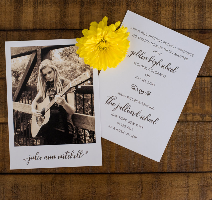 girl playing guitar graduation announcement