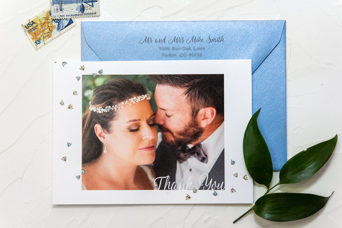 custom wedding thank you card with photo
