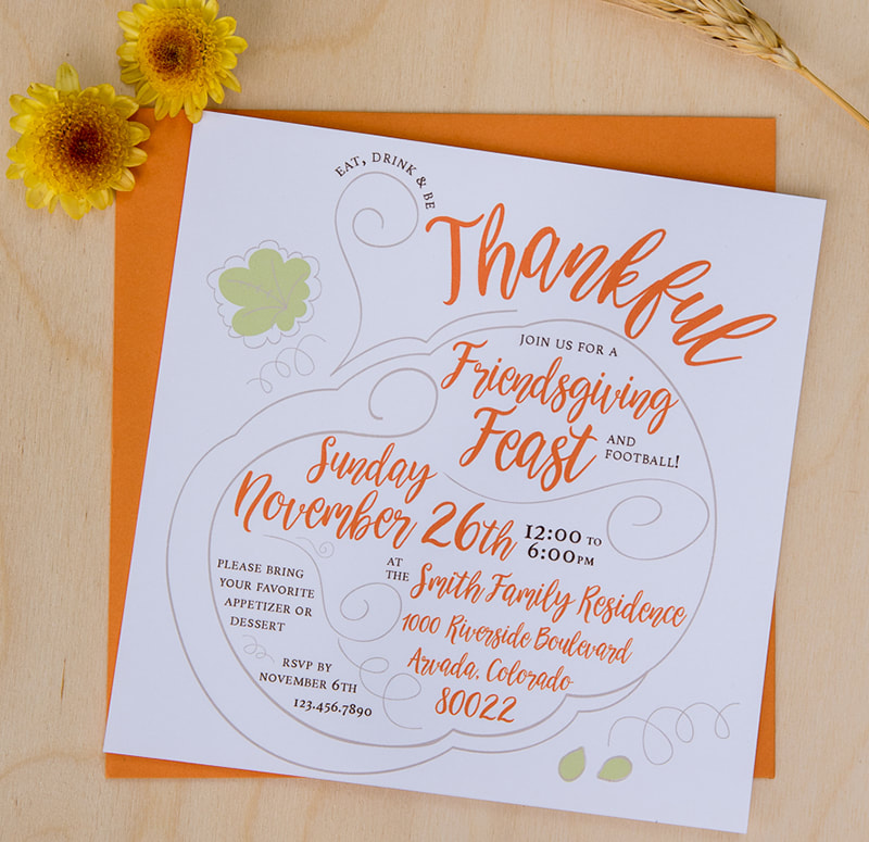 orange and white friendsgiving invitation