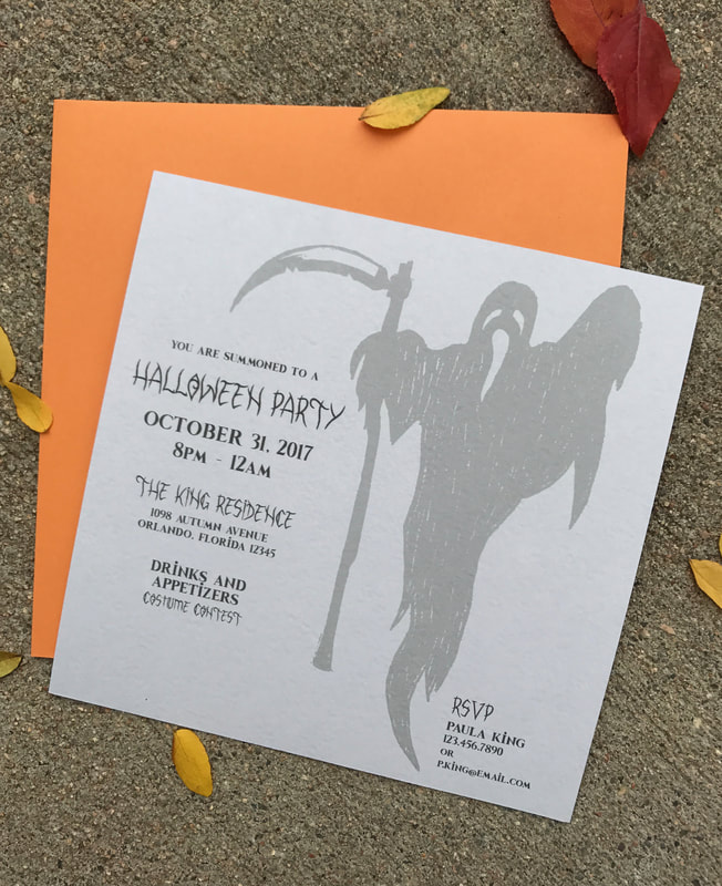 orange and grey halloween party invitation