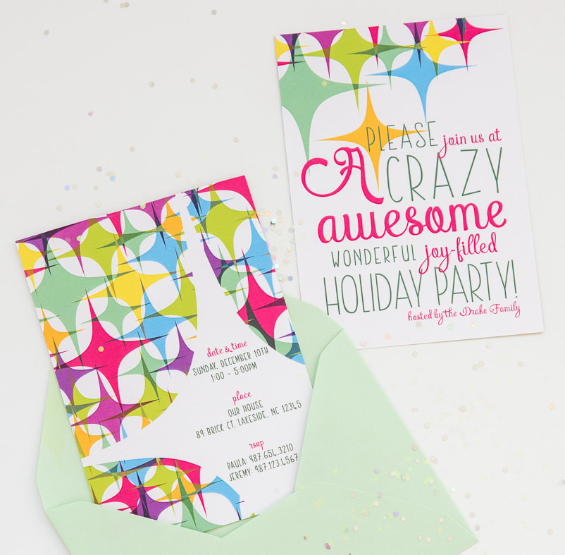 colorful geometric holiday party invitation