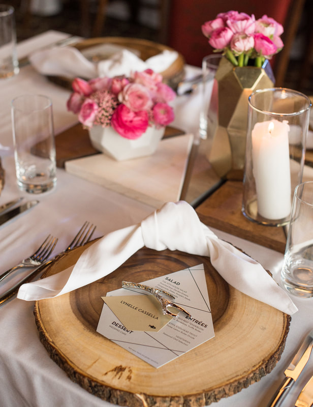 silver and gold wedding tablescape decor and menu