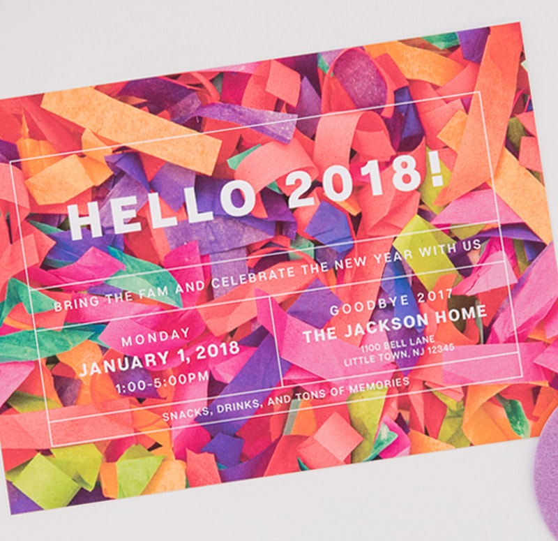 confetti new year's party invitation