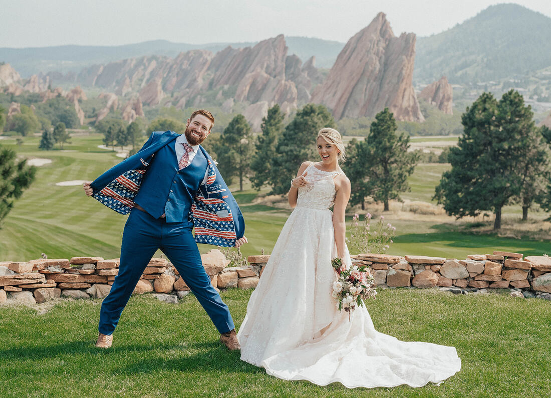 bride and groom at arrowhead