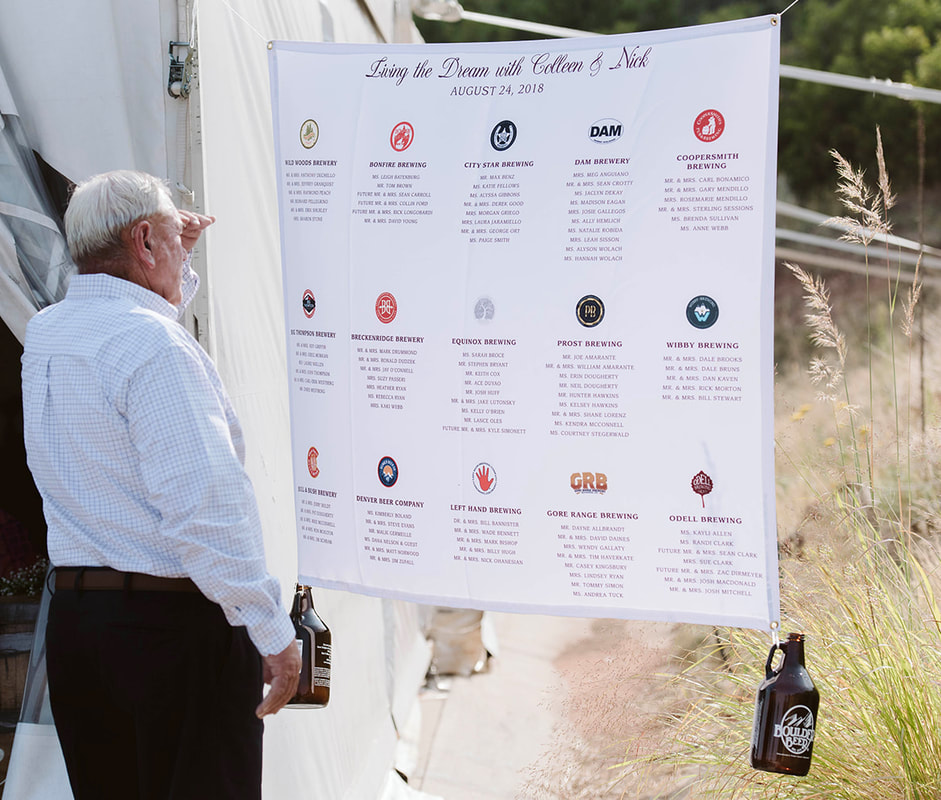 beer themed wedding seating chart signage
