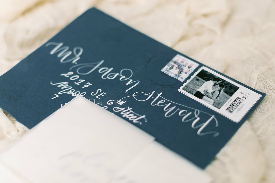 blue and white calligraphy wedding envelope