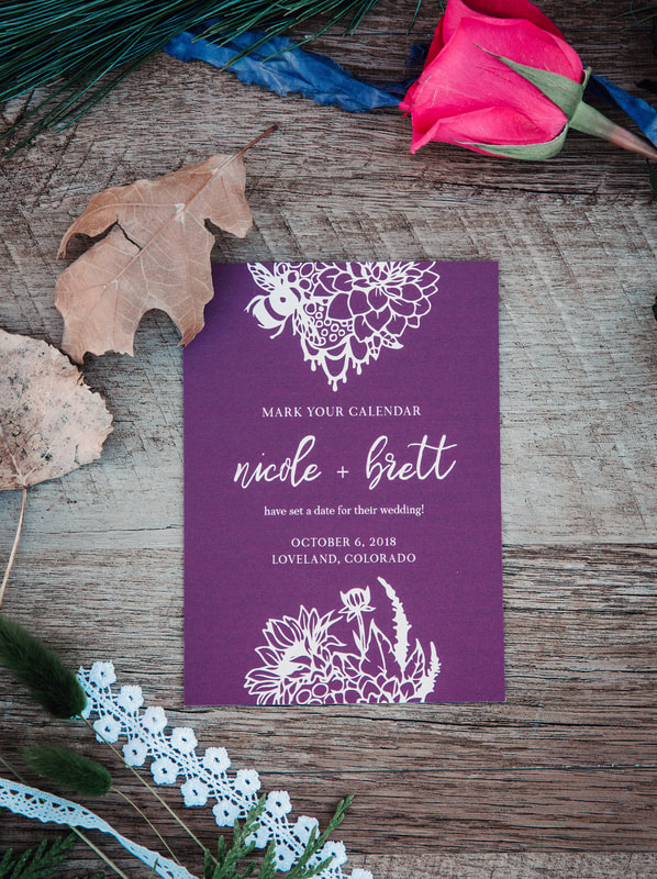 purple boho save the date with flowers